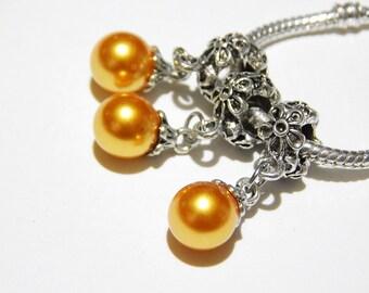 1x Gold Pearl Drop Charm - Dangle Charm - Euro Charm - Euro Bead - Spacer