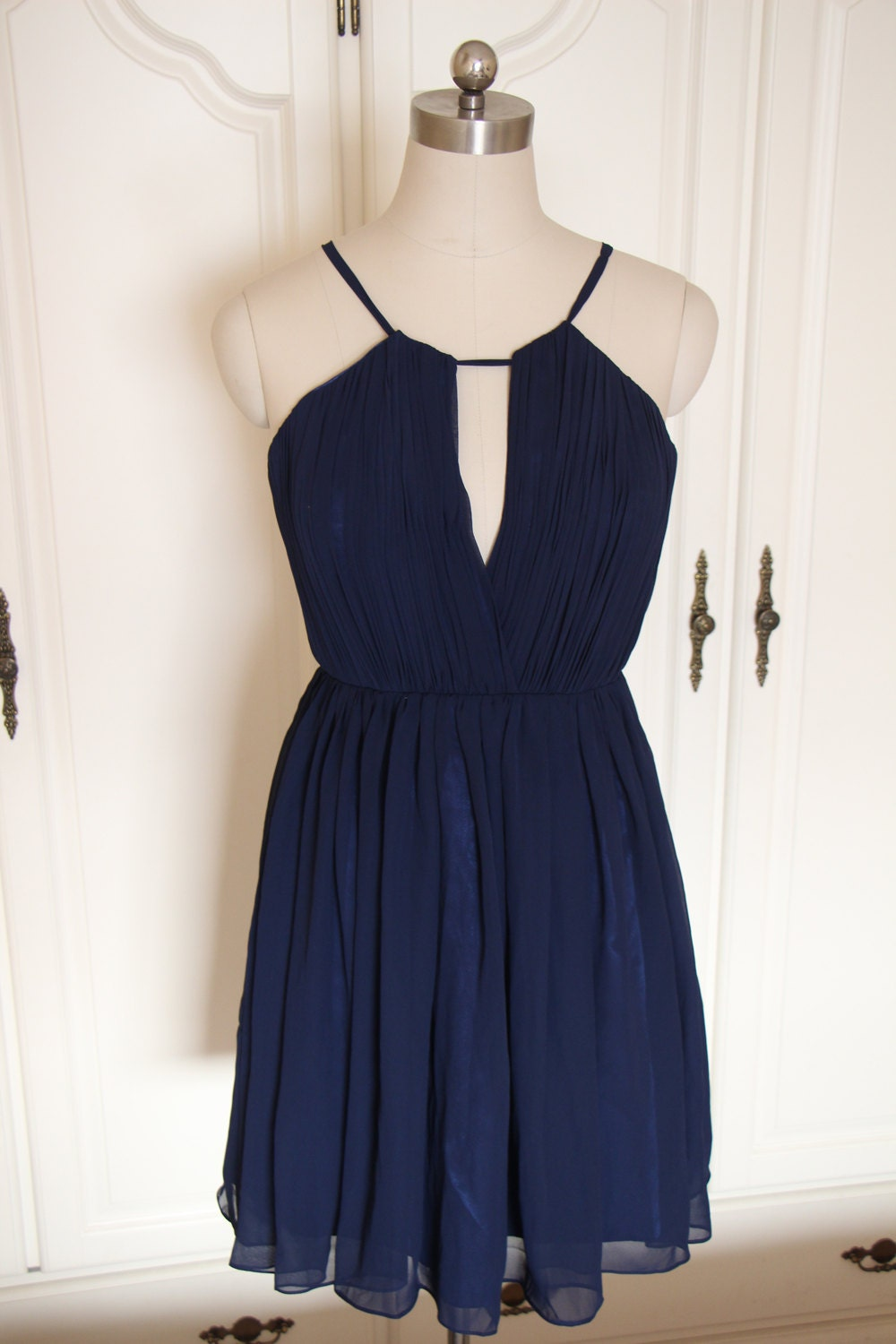 Navy bridesmaid dress short halter navy blue chiffon by for Short blue wedding dresses