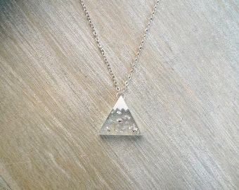 Snowy mountain necklace, Triangle pendant, Geometric necklace