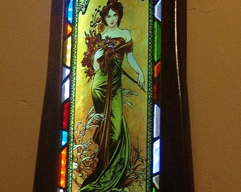 Alphonse Mucha - Spring, Stained Glass Window Panel with lighting system, Original hand-painted by Sekyt Art Studio