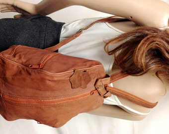 "Backpack bag,brown Leather ,sling bag, Shoulder Bag,small, 9"" x 13"" x 4"""