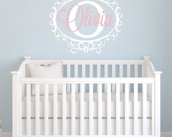 Girls Nursery Name Decal with Frame - Personalized Custom Name Decal - Girls Room - Vinyl Name Decal