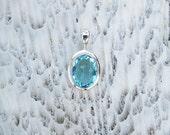 Small Oval Swiss Blue Topaz Quartz Bezel Set in Nickel Free Silver, Semi Precious Gemstone Jewelry BT4