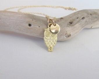 Gold Owl Necklace, Owl Charm Necklace, Owl Jewelry, Personalized Necklace, Tiny Owl Charm, Dainty Gold Charm,Wedding, Bridesmaid,Birthday