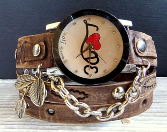 Love Wrap watch, Brown leather watch, leather wrap watch, Bracelet Watch, Women's gift, Leather watch, leather jewelry