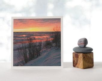 Sunset on ice, fine art photography print, 5x5 textured matte print, Northwest Territories landscape, landscape photography, nature photo