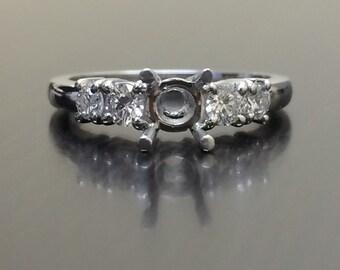 Platinum Diamond Engagement Ring - Platinum Ring - Diamond Ring - Diamond Wedding Ring - Platinum Setting - Five Stone Diamond Mounting