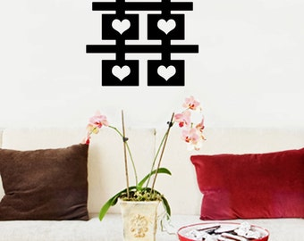 Chinese Double Happiness (with hearts) wall decal 24x22