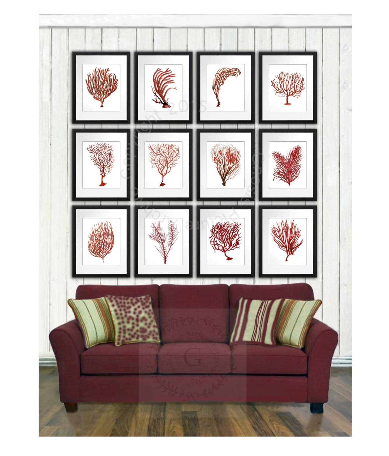 Coastal christmas decor idea sea coral art print set of