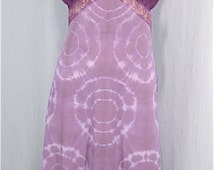 Tie Dye Nightgown 34 SMALL Upcycled Vintage Crystal Pleat Slip Dress Hand Dyed Plum Boho Sundress Festival Dress Hippie Lingerie Bridal Gift