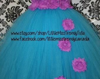 Turquoise Flower Girl Tutu Dress, Turquoise Tutu Dress,  Turquoise Purple Tutu Dress, Girls Flower Girl Dress, Girls Turquoise Tutu Dress