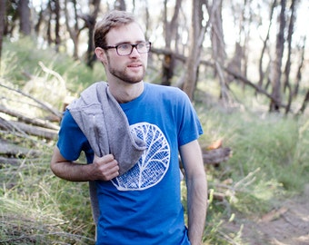Organic t-shirt, Blue, Moon, 100% recycled, ethical, screen printed, sweatshop free, made from recycled plastic bottles