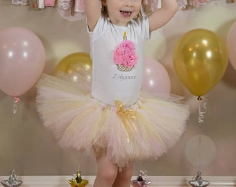 3D Cupcake 1st Birthday Tutu Outfit, Pink and Gold Birthday Outfit