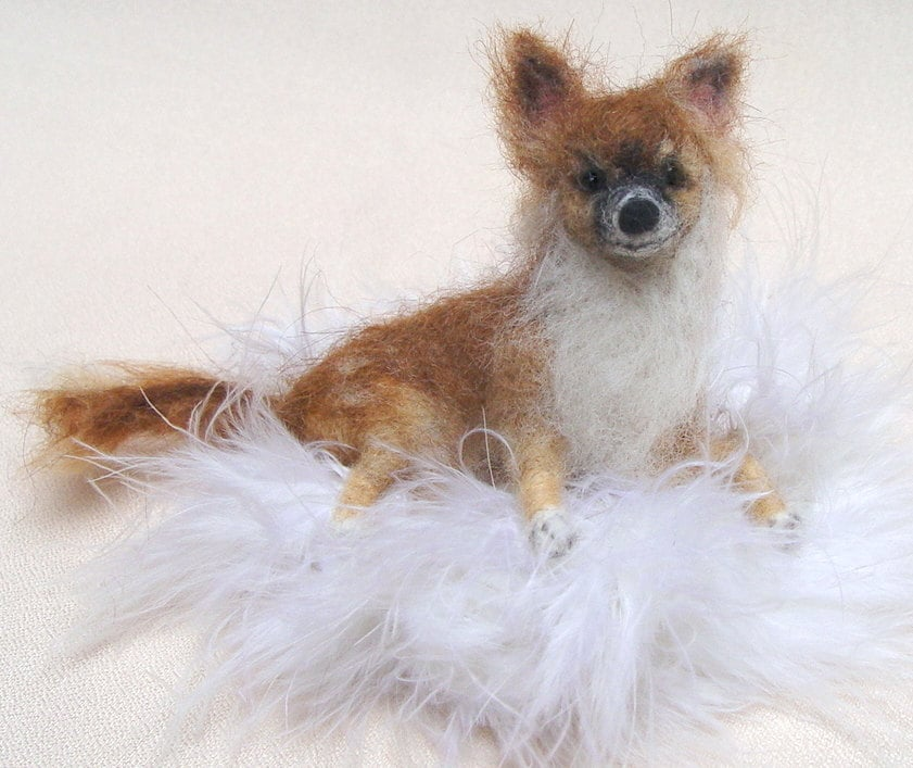 Custom dog replica Chihuahua mom gift idea needle felted dog