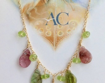 Pink and Green Tourmaline Pendant Necklace . Tourmaline Teardrop Beads Necklace . Harmonic Jewelry by Alexandra Cabri