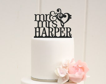 Music Note Heart Wedding Cake Topper Mr and Mrs Cake Topper with Your Last Name