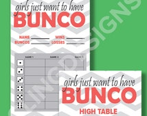 Bunco Score Card   Instant Download   PDF Digital File   Girls Just Want to Have Bunco