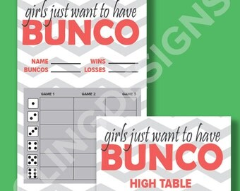 Bunco Score Card | Instant Download | PDF Digital File | Girls Just Want to Have Bunco