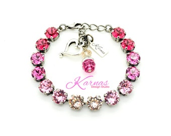 PINK PASSION 8mm Crystal Chaton Bracelet Made With Swarovski Elements *Pick Your Finish *Karnas Design Studio *Free Shipping*