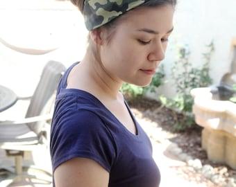 Camouflage Turban Headband, Army Camo Headwrap, Stretchy Twist Headband