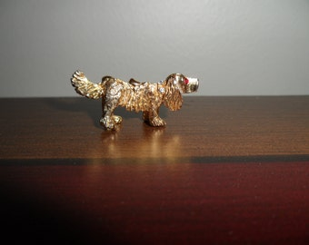 Rhinestone Accented Doggie Brooch - Vintage Excellent Condition - Small Size Brooch - Goldtone - Clean Condition - Woof Woof