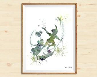 Peter Pan Flying Disney | Watercolor art print | Wall decor | Home decor | Watercolor digital art | Wedding gift | Gift idea