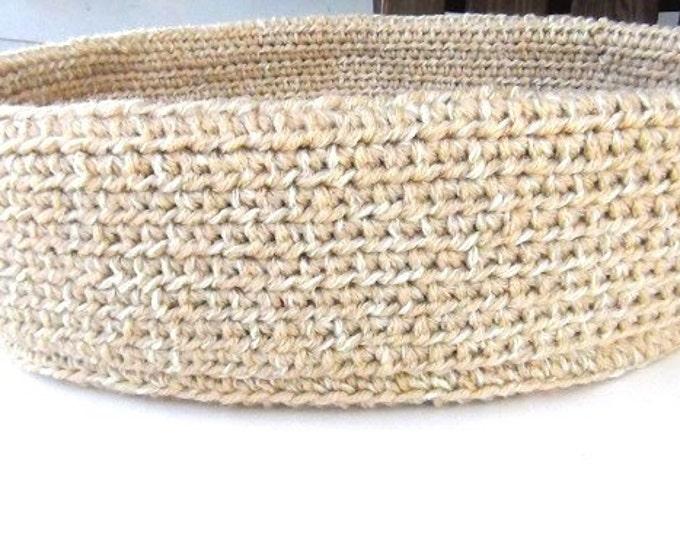 "Beige Basket, Made in Maine Crochet Soft Sided Cat Bed, 16"" Handmade Basket"