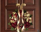 Christmas Wreath | Blended Hydrangea Wreath | Holiday Door Decor | Burgundy Red Hydrangeas | Holiday Front Door Wreath | Gift for Mom
