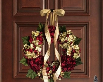 Christmas Wreath | Blended Hydrangea Wreath | Holiday Door Decor | Burgundy Red Hydrangeas | Holiday Front Door Wreath | Gift for Mom
