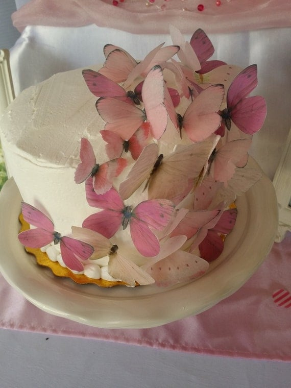 Butterfly Edible Cake Images : EDIBLE BUTTERFLY 24 Pastel Pink Cake Toppers Wedding Toppers