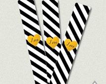 Gold Foil Heart Wedding Sparkler Holder, Love Sparkler Holder, Black and White Wedding, Instant Download, Printable Sparker Holder