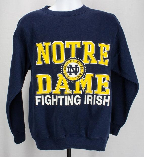 Vintage 90s Notre Dame Crewneck Sweatshirt LG Hip Hop College