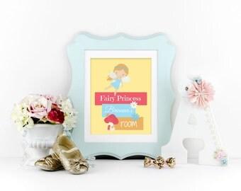 Girls Room Decor - Fairy Princess Print - Personalized Name Print - Nursery Wall Art -  Fairy Princess Nursery  Girls Room - Princess Party