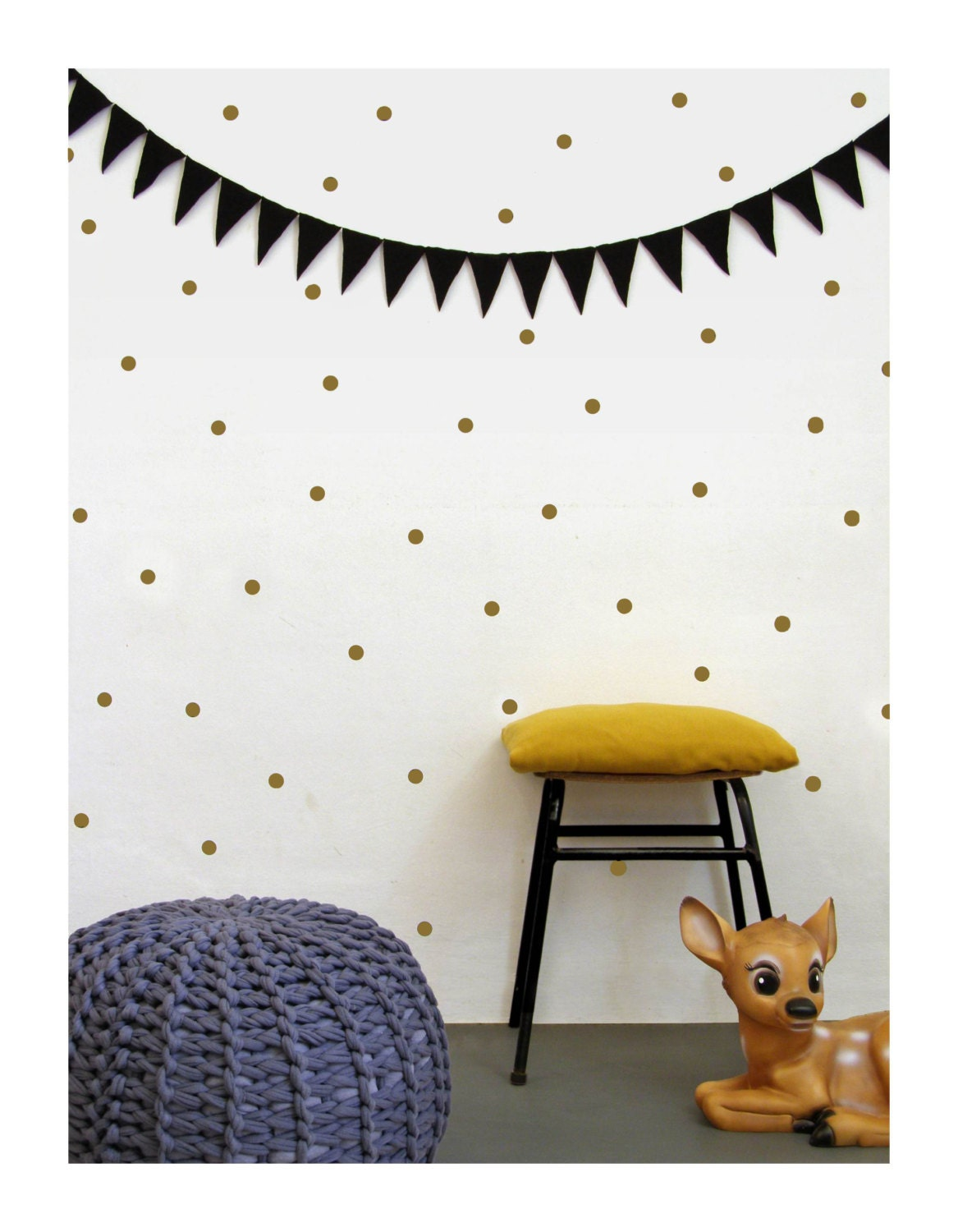 gold dots wall decals dots wall stickers polka dot wall. Black Bedroom Furniture Sets. Home Design Ideas