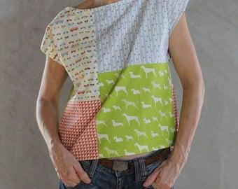 Block Patterned Handmade Cotton Top