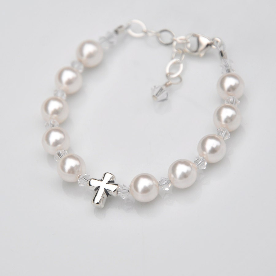 baby bracelet or boy sterling silver cross rosary all