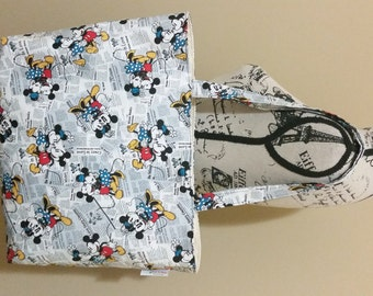 Newsprint Mickey & Minnie Mouse Tote Bag, Beach Bag, School Bag, Book Bag, Travel Bag