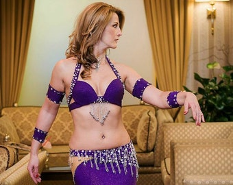 belly dancing costume, Purple belly dance costume