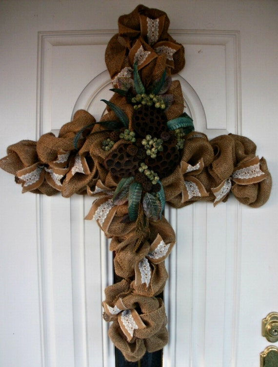 Cross Wreath Fall Wreath Burlap Wreath Floral Wreath