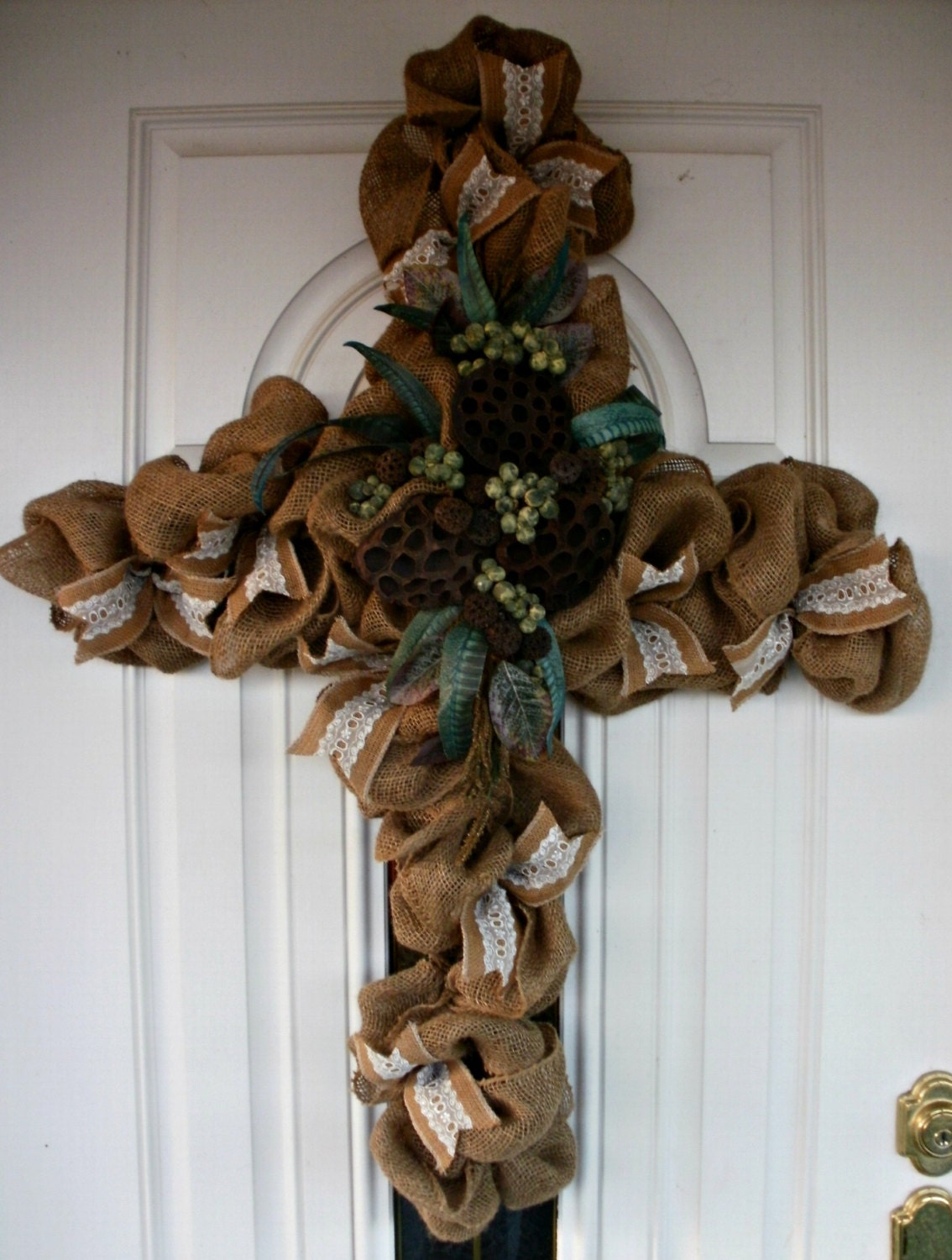 Cross Wreath Fall Wreath Burlap Wreath Floral Wreath