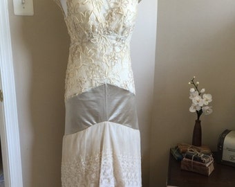 Classy, Elegant, Repurposed Antique Lace Wedding Dress / Alternative Wedding Dress / Special Event Dress