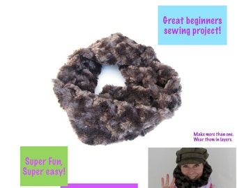 sewing for beginners tutorial, Faux Fur Infinity Scarf Tutorial, Beginners Sewing Pattern, Sew a Gift