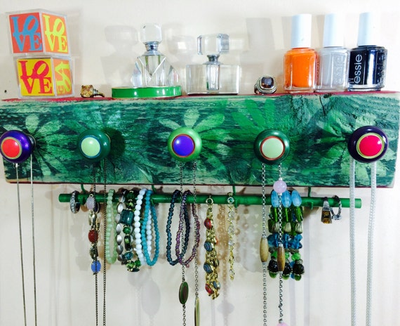 Jewelry storage necklace holder /scarf organizer /wall hanging art reclaimed wood decor /jewellery hanger 5 knobs 2 hooks bracelet bar