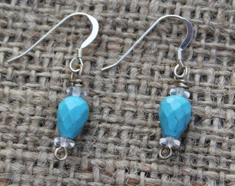 Turquoise beaded earrings with sterling silver ear wire