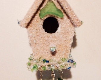 Miniature Birdhouse Mobile dusted in Beach Sand with Sea Glass ropes, Seed Pearls, and a Dolphin Charm Accent from Crafts by the Sea