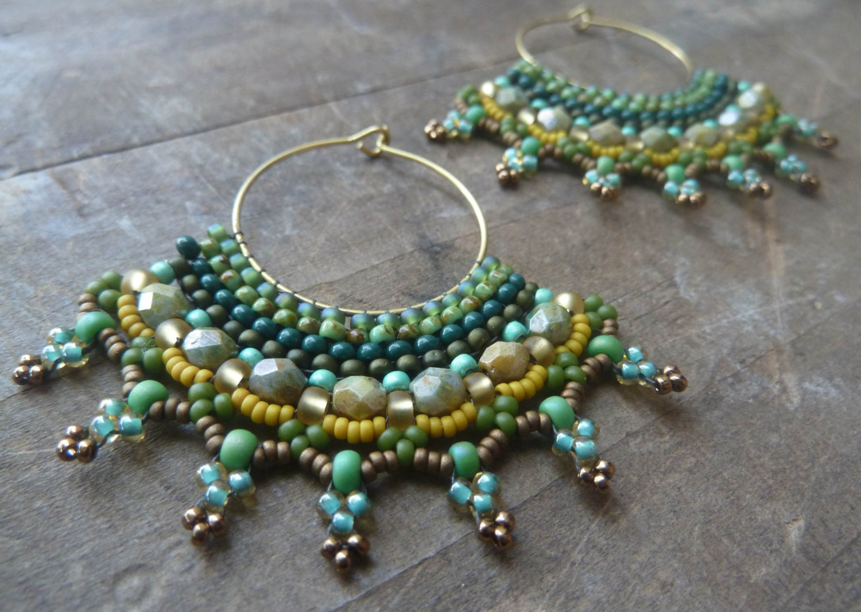 hoop earrings beaded tribal earrings by dandascollection