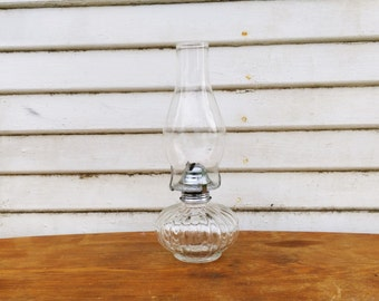 Small Kerosene Lamp Glass Lamp Glass Kerosene Lamp Vintage Lamp Vintage Glass Lamp