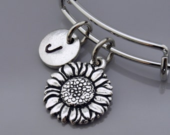 Sunflower Bangle, Sunflower bracelet, Flower charm, Silver sunflower bracelet, Expandable bangle, Personalized bracelet, Initial bracelet