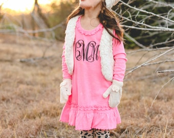 Monogram Long Sleeve Dress | Monogram Ruffle Dress | Girls Monogram Dress | Long Sleeve Dress | Monogram Pink Dress | Gifts under 30