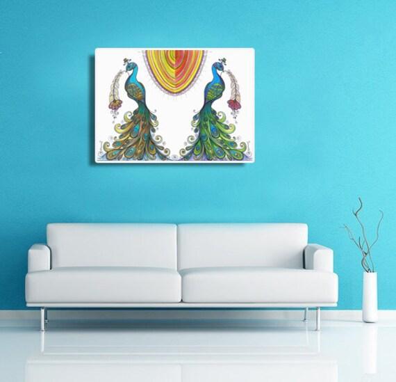 Peacock Painting Living Room Wall Decor Large Art Print